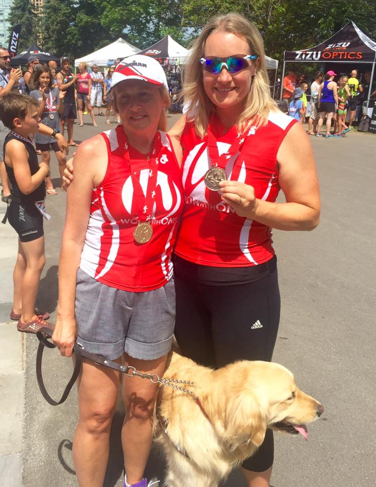 Diane and Kory with Their Gold Medals at Canadian Paratriathlon Championships