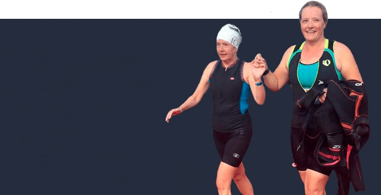 Diane and Kory During a Triathlon